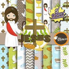 Jesus Clipart Digital Paper : Jesus Paper Bible