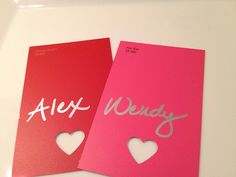 Make Valentine's Day place cards out of paint chips.
