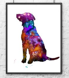 Watercolor Painting Purple Dog Art Print Dog Home by Thenobleowl