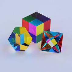 This ultimate collector pack is the perfect addition to any household! It includes 3 of the 5 Platonic solids.The Greeks taught that these five solids were the core patterns of physical creation. Four of the solids were seen as the archetypal pa... Platonic Solid, The Collector, Geometry, Appreciation, Household, Cosmic, Packing, Colours, Shapes