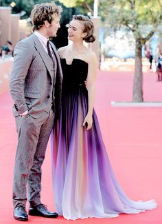 Lily Collins and Sam Claflin at the 'Love Rosie' premiere in Rome.