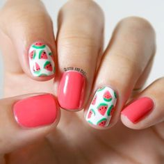 Nail Art Designs 💅 - Cute nails, Nail art designs and Pretty nails. Diy Nails, Cute Nails, Pretty Nails, Pink Manicure, Gorgeous Nails, Fruit Nail Designs, Cute Nail Designs, Watermelon Nail Art, Watermelon Nail Designs