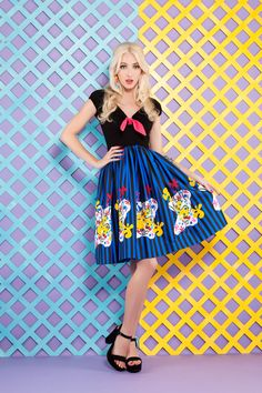 adcdb44df2c6 Final Sale - Pinup Couture Natalie Swing Dress in Mary Blair Clown Border  Print - Magic of Mary Blair Collection - Collections