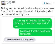 And rarest of all, the meal you try, and then actually end up liking. 18 Meals Absolutely Every Picky Eater Has Had Southern Restaurant, Jambalaya, Proud Of Me, Im Trying, Southern Recipes, Picky Eaters, You Tried, Funny Pictures, Funny Pics