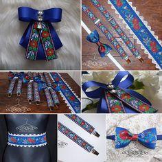 SLOVAK FOLK MOTIVF blue brooch for woman  folk belt for woman folk blue bow tie for men folk men's traces handmade by domkadesign