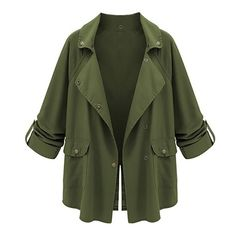 Army Green Tab Sleeve Loose Jacket (33 DKK) ❤ liked on Polyvore featuring outerwear, jackets, coats, tops, loose jacket, green jacket and sleeve jacket