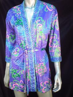 Roxanne Perfection Fit 1960's Vintage Lavender Palms Cover-Up Robe * #Roxanne #CoverUp