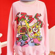 Harajuku Candy Pink Cartoon Sweater