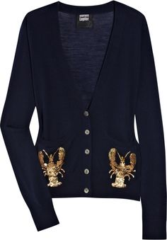 Navy fine-knit merino wool cardigan with gold and bronze sequined lobster motifs at front pockets. Markus Lupfer cardigan has a V-neck, long sleeves, ribbed trims and button fastenings through front. Preppy Style, Style Me, V Neck Cardigan, Wool Cardigan, Nautical Fashion, Trendy Outfits, Long Sleeve Tops, What To Wear, Sweaters