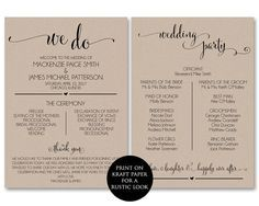 Printable Wedding Program Template, Rustic Wedding Fan Program ...