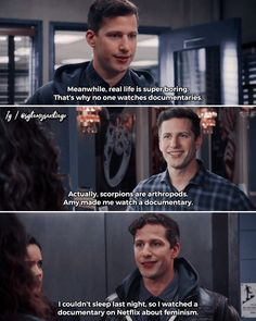Now Thats character development Brooklyn Nine Nine Funny, Brooklyn 9 9, Jake And Amy, Andy Samberg, Lol, Parks N Rec, Rookie Blue, Funny Relatable Memes, Best Shows Ever