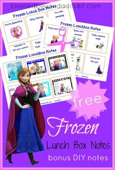Download free printable Frozen-inspired Lunchbox Notes.