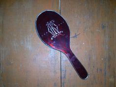 VINTAGE HANDHELD MIRROR beveled monogrammed vintage by COTTAGEGOLD, $42.00