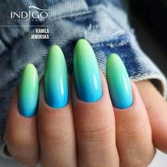 Summer Nail Design With Neon Ombre Effect ❤ 35 Bright Neon Colors Ombre Nails . Ombre Nail Designs, Short Nail Designs, Colorful Nail Designs, Nail Designs For Summer, Hair And Nails, My Nails, Indigo Nails, Manicure Y Pedicure, Diamond Nails
