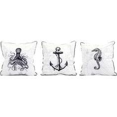 Marine Embroidered Pillow in Octopus, Anchor & Sea Horse (Set of 3) #dynamichome #octopus #anchor #seahorse #pillow #accent #nautical #coastal #beach #house #style #decor #homedecor #livingroom #bedroom #interiors #interiordesign
