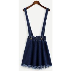 SheIn(sheinside) Blue Raw Hem Denim Strap Skirt ($15) ❤ liked on Polyvore featuring skirts, bottoms, dresses, blue, denim skirt, short denim skirts, blue a line skirt, a-line skirts and short a line skirt