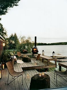 Decks/patios on a lake. Outdoor Rooms, Outdoor Living, Outdoor Furniture Sets, Lakeside Living, Outdoor Seating, Lakeside View, Lakeside Cabin, Deck Furniture, Lakeside Terrace