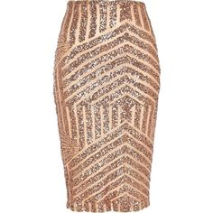 River Island Bronze deco sequin embellished tube skirt found on Polyvore featuring polyvore, women's fashion, clothing, skirts, bottoms, sale, vintage print skirt, river island, sequin skirt and vintage skirts