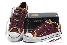 Converse Double Upper All Star Chuck Taylor Wine-Red Yellow Low Tops Canvas Casual Shoes