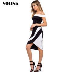 1843f4484e7520 VOLINA 2017 Dresses for women Elegant dress off shoulder vestidos slash  neck summer dress stripe Sleeveless patchwork dress slim   Price   28.00    FREE ...