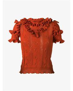 GUCCI Wool Ruffle Knit Short Sleeve Top. #gucci #cloth #