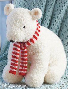 Polar bear toy knitting pattern free - DIY and crafts Crochet Pattern Free, Crochet Gratis, Crochet Bear, Cute Crochet, Knitted Doll Patterns, Animal Knitting Patterns, Stuffed Animal Patterns, Stuffed Animals, Crochet Dolls