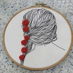 #woman back of the  head illustration  embroidery  #Illustration  embroidery  여인 뒷모습~~ 몇번을 뜯고 또 뜯고.. 으음~~~~ 오래걸렸네! #일러스트자수  #일러스트 입체자수