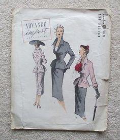 Vintage Uncut Advance Import Adaptation Ladies Sewing Pattern # 60 Jacket&SkirT