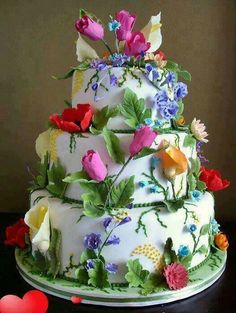 Exquisite cake all decorated with Roses .