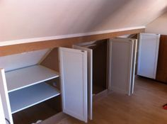 First-Class Attic Storage Bins Ideas 7 Unbelievable Useful Ideas: Large Attic Remodel attic closet angles.Unfinished Attic Ideas attic e Attic Bedroom Small, Attic Closet, Attic Playroom, Attic Bathroom, Attic Rooms, Attic Spaces, Bathroom Green, Attic Wardrobe, Bathroom Small