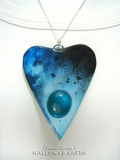Blue Moon Oujia Planchette Handpainted Necklace $49.00 #handmade #oujia #ooak #planchette #magic #statementjewelry #necklace #daniellovely.com #art #bluemoon #hallowedearth