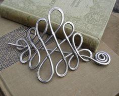 Large Celtic Hair Pin or Shawl Pin - Aluminum Looping Celtic Crossed Knots