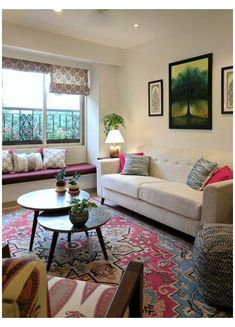 Indian Living Rooms, Colourful Living Room, Boho Living Room, Living Room Interior, Living Room Decor, Living Room Designs India, Lobby Interior, Boho Room, Dining Room