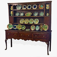 Old Welsh Dresser. Oh, to see my antique china collection displayed on a beautiful welsh dresser like this! English Country Style, French Country Cottage, French Country Decorating, Antique Furniture, Painted Furniture, Hutch Cabinet, Welsh Dresser, Antique Stove, Home Altar