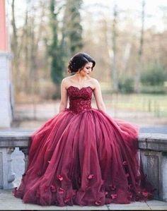 Burgundy Prom Dress,Puffy Prom Dress,Ball Gown Prom Dress,Burgundy Wedding Dress,MA025