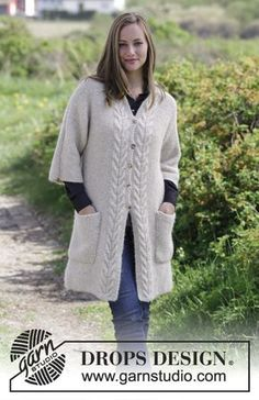 Elegant Comfort Jacket - Knitted jacket with moss stitch, cables, shawl collar and pockets. Sizes S - XXXL. The piece is worked in DROPS Air. Free knitted pattern DROPS 180-33