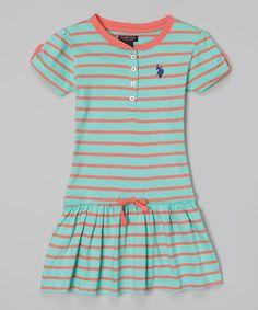 Loving this Frozen Aqua Stripe Drop-Waist Dress - Infant, Toddler & Girls on #zulily! #zulilyfinds