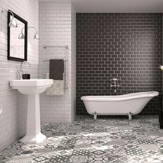 Love love love this. Black and white metro tiles with mosaic style flooring (Galena from Walls and Floors)