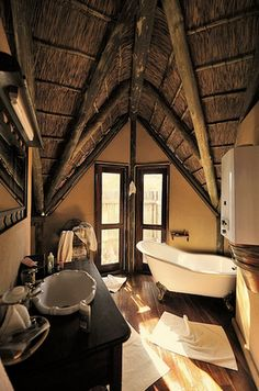 Bathroom at the Deception Valley Lodge in Botswana Interior Architecture, Interior Design, Morning Inspiration, Out Of Africa, Large Bathrooms, Game Reserve, British Colonial, African Safari, Humble Abode
