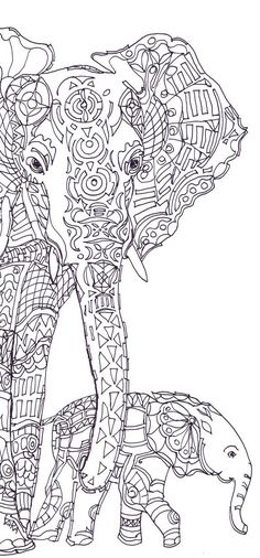 Elephant Clip Art Coloring Pages Printable Adult Book