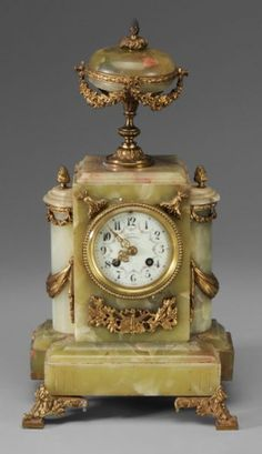 ~ French Green Marble Mantle Clock ~ (1890's)
