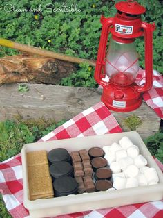 S'mores camping box - put together different cookie and chocolate options to create the perfect custom s'more!
