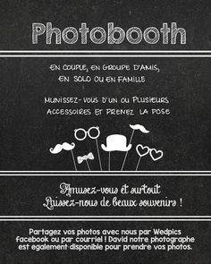 Directives pour Photobooth à imprimer et encadrer | Planifier notre mariage
