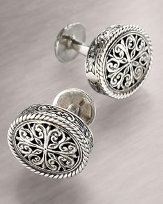 Carved Cuff Links by Konstantino at Neiman Marcus.
