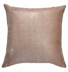 "Bronze Shimmer Pillow of jute with a metallic fabric finish. - Measurements: 20"" x 20"" - Hidden zipper - Pillow filler included - 100% Jute Cover with Metallic Fabric Finish"