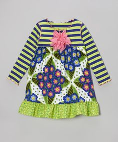 Little darlings should dress in clothing that matches their bright and bubbly personalities. This fun frock boasts a playful mix of prints and patterns along with a soft cotton construction that ensures comfort for all-day play.