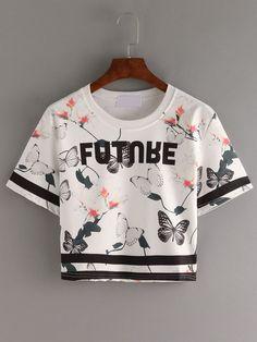 Camiseta letras mariposa crop -blanco