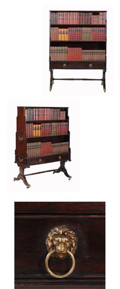 A Regency mahogany open waterfall bookcase, circa 1815 , of freestanding form, each opposing side with three open shelves, above a long frieze drawer and opposing false drawer, above shaped trestle supports incorporating roundel terminals and on twin downswept legs, brass caps and casters - Dim: 163cm high, 118cm wide, 57cm deep