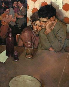 Joseph Lorusso (b. 1966), oil on panel {figurative #impressionist art seated couple face profile portrait painting #loveart} Mellow !! josephlorussofineart.com