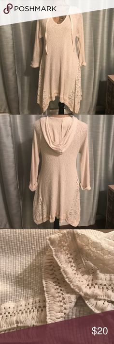 """Orange creek hooded long sleeve top Pre-loved orange creek lace detailed thermal hooded top. This top is so soft and comfy. So cute with boots and leggings for a comfortable yet cute look! In good used condition, normal wear. There is some loose fringe at bottom as shown in pic. Chest is 19"""" and length 29"""" in front. asymmetrical so longer on sides. Orange Creek Tops Tunics"""